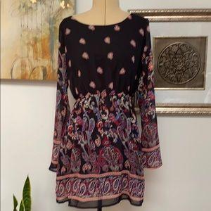 Long sleeve print dress, L